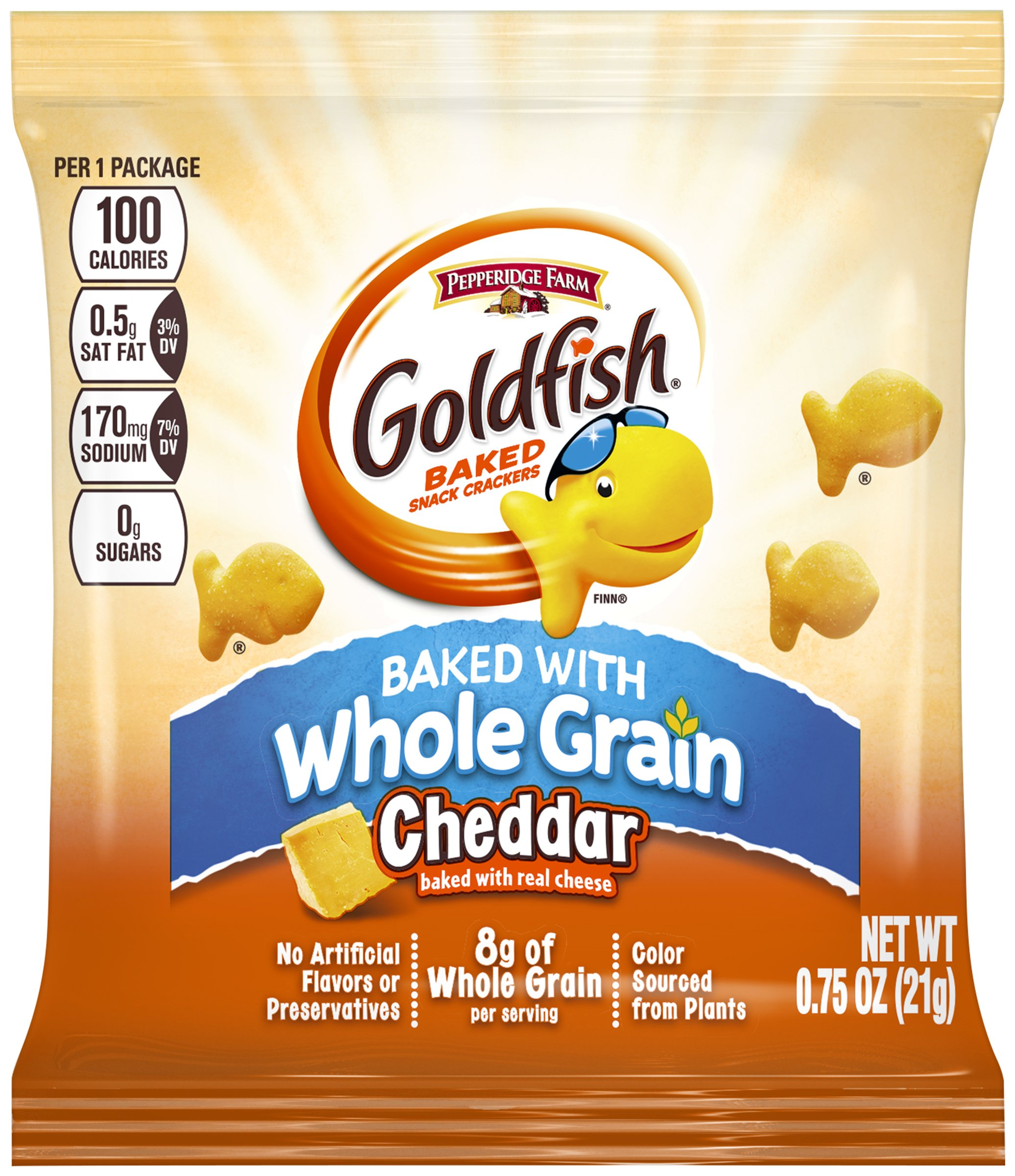 PEPPERIDGE FARM 100 Calorie Whole Grain Cheddar Goldfish, 100-Count Pouches by Pepperidge Farm
