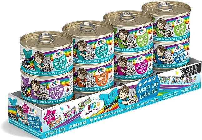 Amazon Com Weruva B F F Omg Best Feline Friend Oh My Gravy Variety Pack Rainbow Road Wet Cat Food By 2 8oz Cans Pack Of 12 Pet Supplies