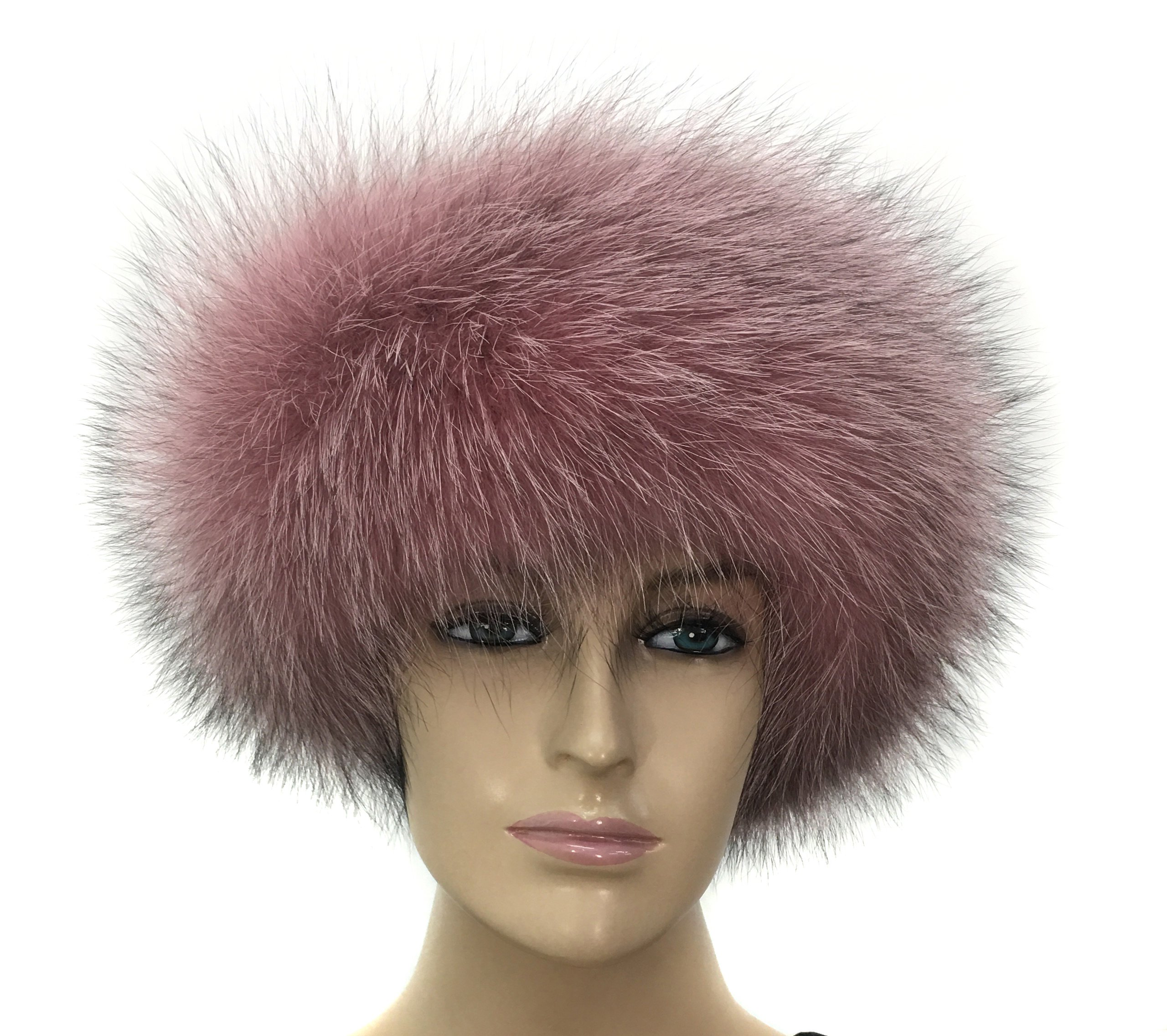 HIMA 100% Real Fox Fur Headband (Peach/Black) by Hima