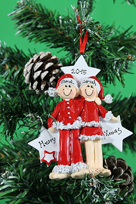 Personalized Christmas Tree Decoration Ornament Couple PJ Lovers Get Your Desired Names On The Items
