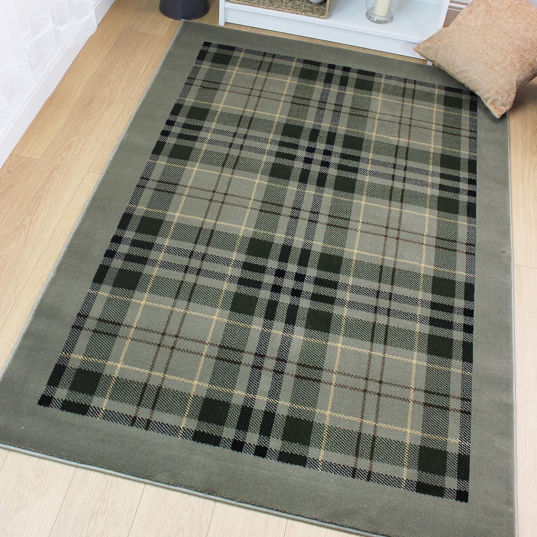 Designer Style Galloway Tartan Checks Pattern Traditional Rug, Sage - 120 x 170cm eRugs