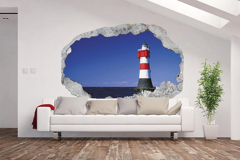 Vlies Fototapete   Poster XXL  3D Wandillusion  Loch in der Wand Leuchtturm