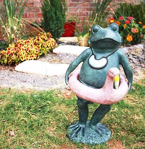 Gifts Decor Large Verdi Green Aluminum Beach Lifeguard Frog Garden Statue 20″ Tall