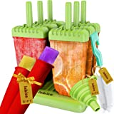 Popsicle Molds Set - BPA Free - 6 Ice Pop Makers + Silicone Funnel + Cleaning Brush + 2 silicon molds + Ice Cream Recipes E-book - by Lebice