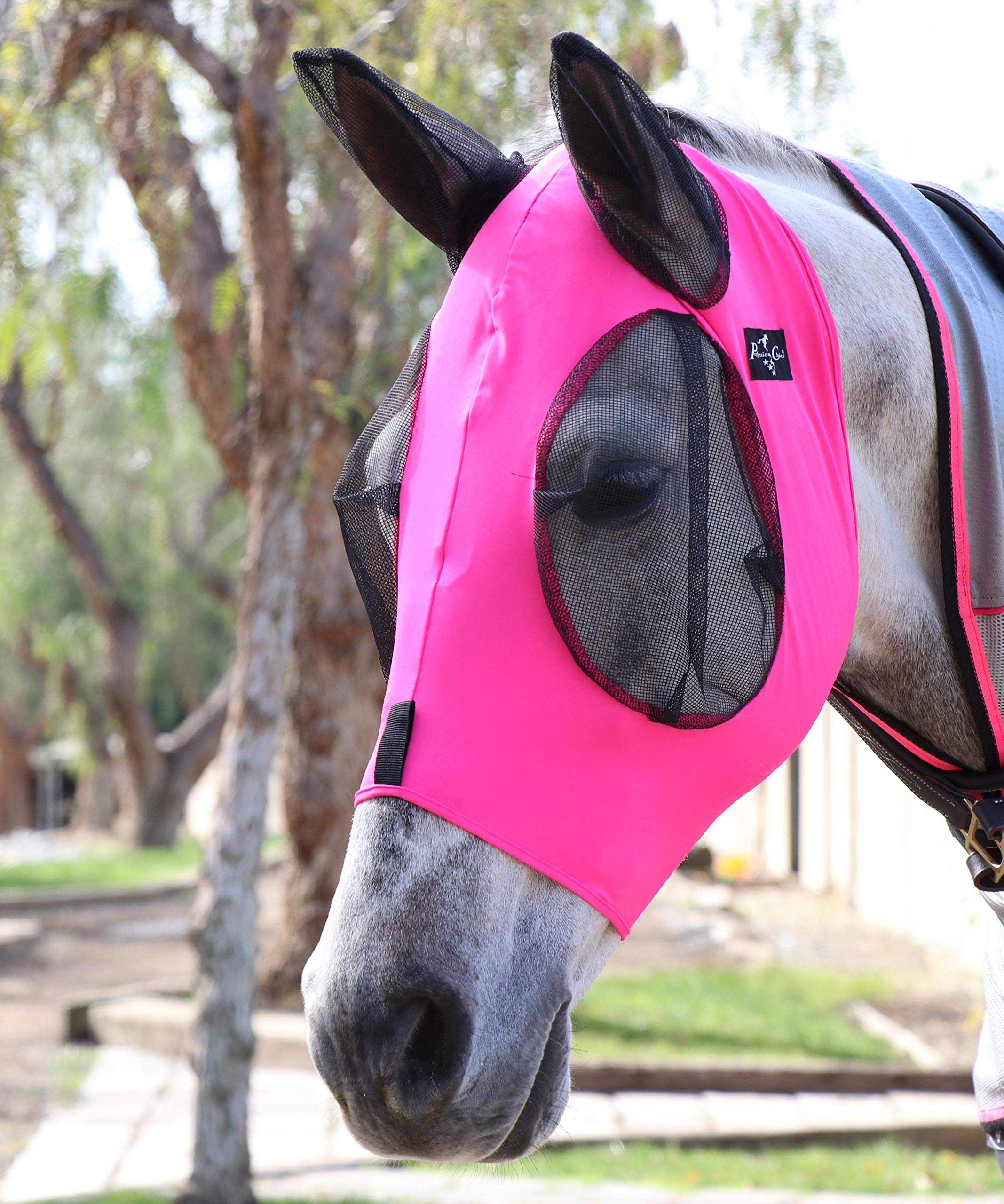 Professional's Choice Comfort Fit Lycra Horse Equine Fly Mask Mesh Ears (Horse, Pink) by Professional's Choice