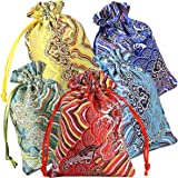"10pcs Silk Brocade Jewelry Pouch Bag 4x5.5"" for Wedding Party Favors, Drawstring Coin Purse Embroidered Sachet Candy Chocolat"
