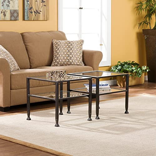 FurnitureMaxx Bunch Metal Cocktail Coffee Table with Glass Top, Black Finish