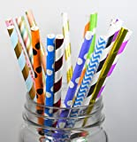 Long lasting assorted biodegradable Paper Straws 150 Count (Combo Random)