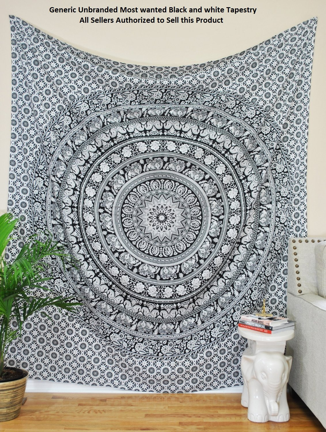 Amazon.com: Most Wanted Black And White Tapestry Elephant Mandala Hippie  Tapestry Indian Traditional Beach Throw Wall Art College Dorm Bohemian Wall  Hanging ... Part 95