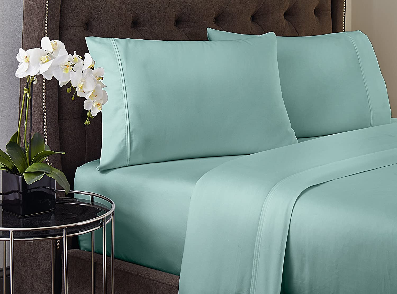 Amaze by welspun cotton sheet set bedding king navy blue - Amazon Com Crowning Touch 500 Thread Count Wrinkle Resistant Cotton Sheet Set Full Aqua Blue Home Kitchen