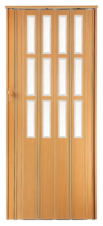 Schl/üssel und Fenster H/öhe 203 cm Einbaubreite bis 85 cm Doppelwandprofil Neu Faltt/ür Schiebet/ür buche farben mit Schlo/ß