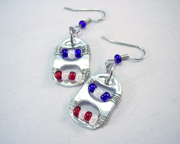 amazon com pop tab earrings red white and blue handmade