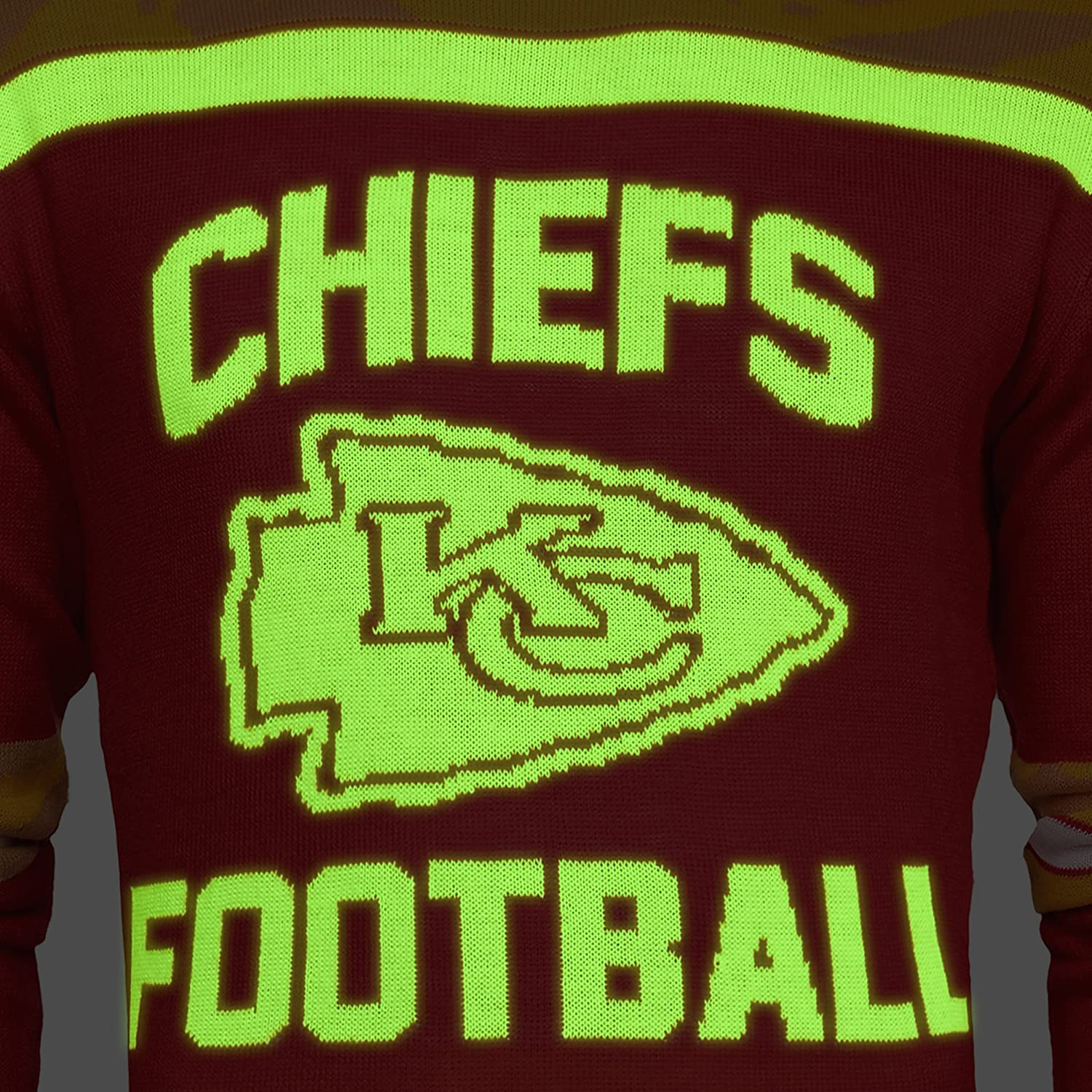 Amazon NFL Kansas City Chiefs Ugly Glow In The Dark Sweater X