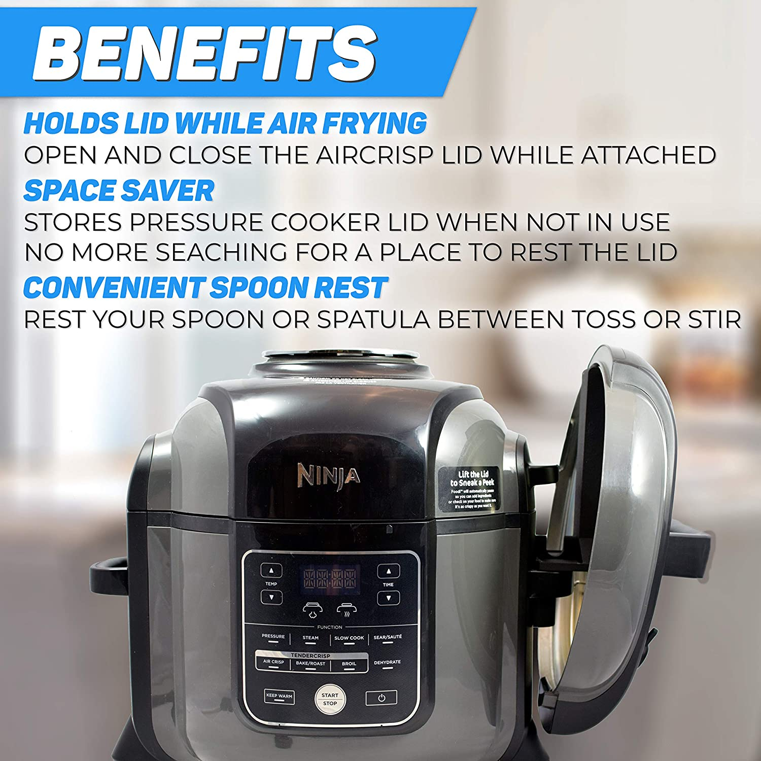 The Steam Boss - Lid and Spoon Rest | Accessories Compatible with Ninja Foodi Pressure Cooker Air Fryer | Fits Ninja Foodi 6.5, XL 8 quart (Does Not ...