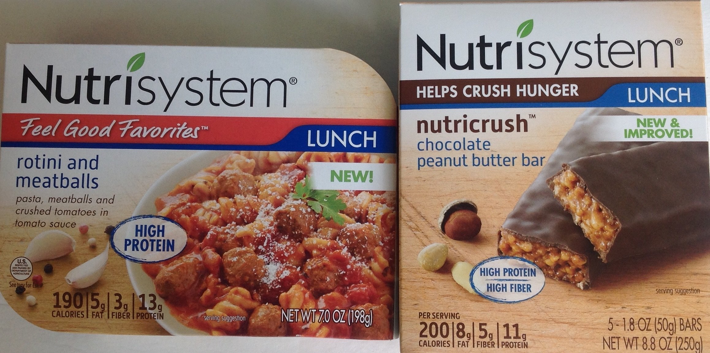Nutrisystem Rotini and Meatballs with Peanut Butter Bar Lunch Bundle (1 Pack of Each)