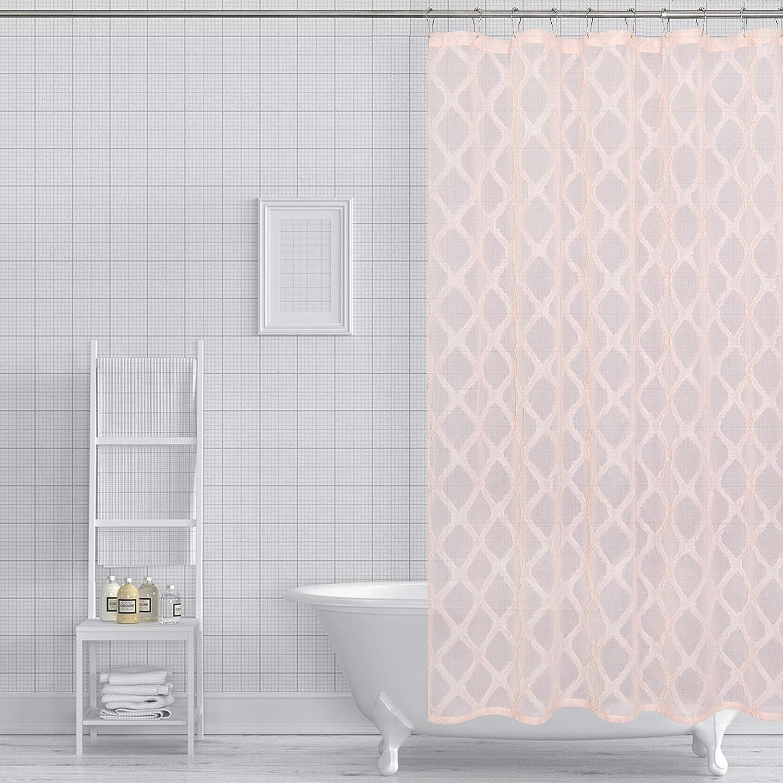 Dainty Home Aurora Fabric Shower Curtain, Blush