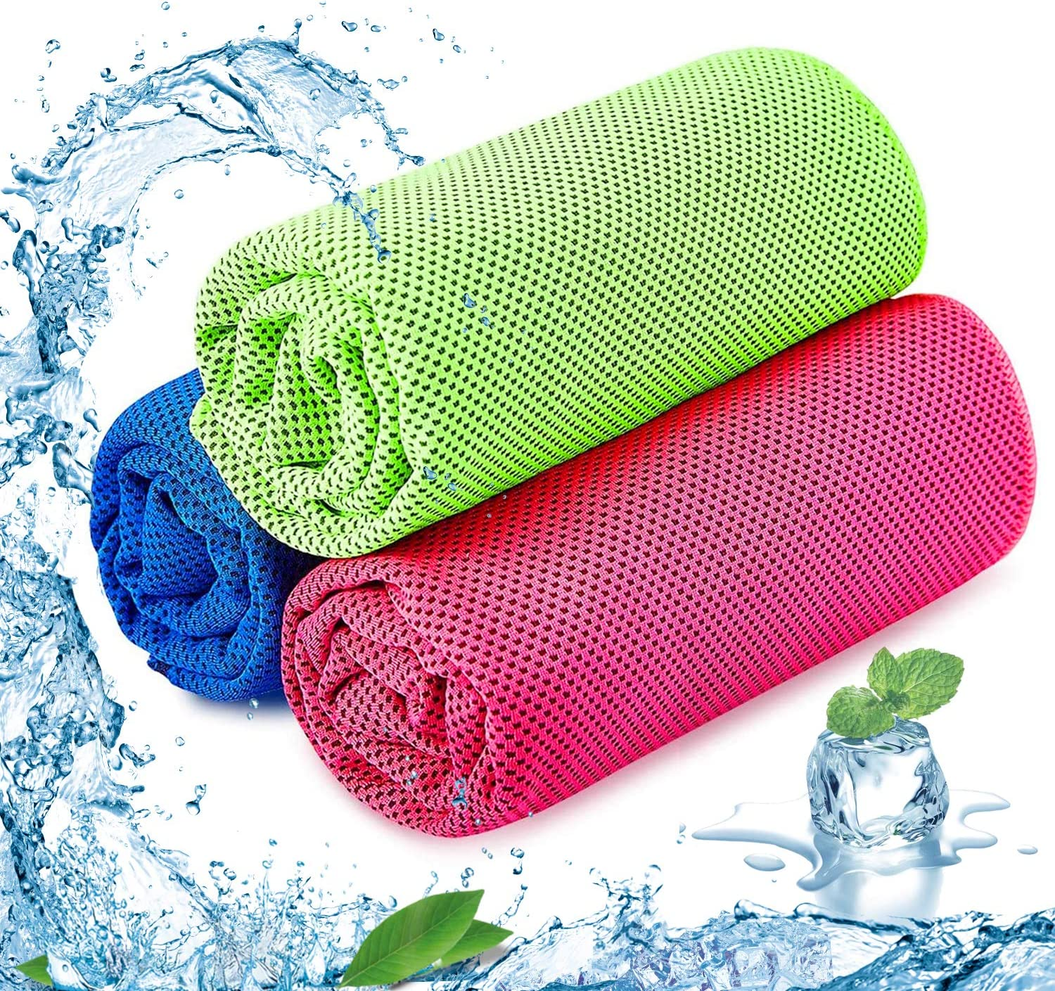 SKL Cooling Towel Pack of 3 Sports Towels Stay Cool Towel for Sports, Swimming, Women, Yoga, Workout, Athletes, Gym, Neck, Golf, Travel 40 inch x 12 inch (Blue-Red-Green)