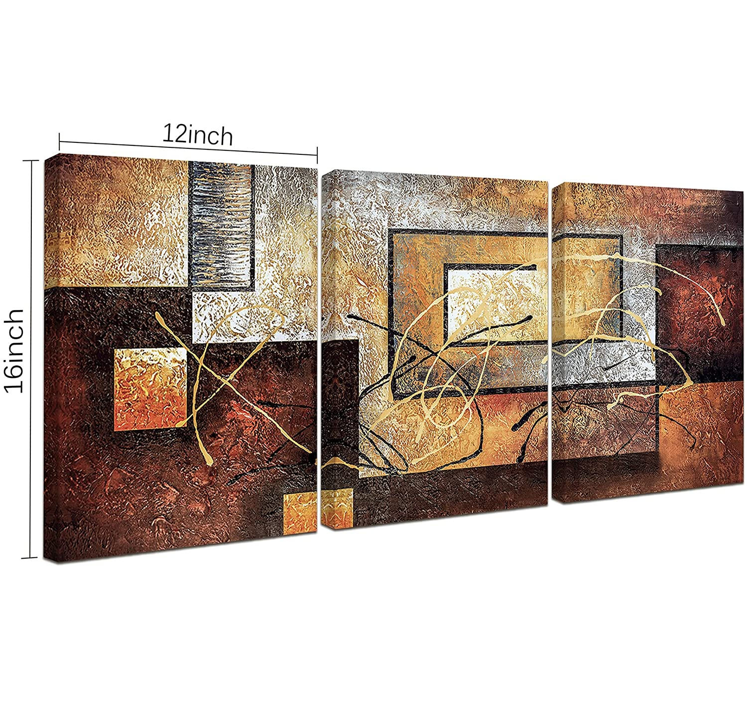 Large modern contemporary 3 piece oil on canvas painting for Modern artwork for home