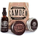 Camden Barbershop Company: Deluxe Bartpflege-Set - Bart-Öl, Bartwachs & Walnussholz-Bartbürste - 100% Natürlich - Geschenk-Set für Männer
