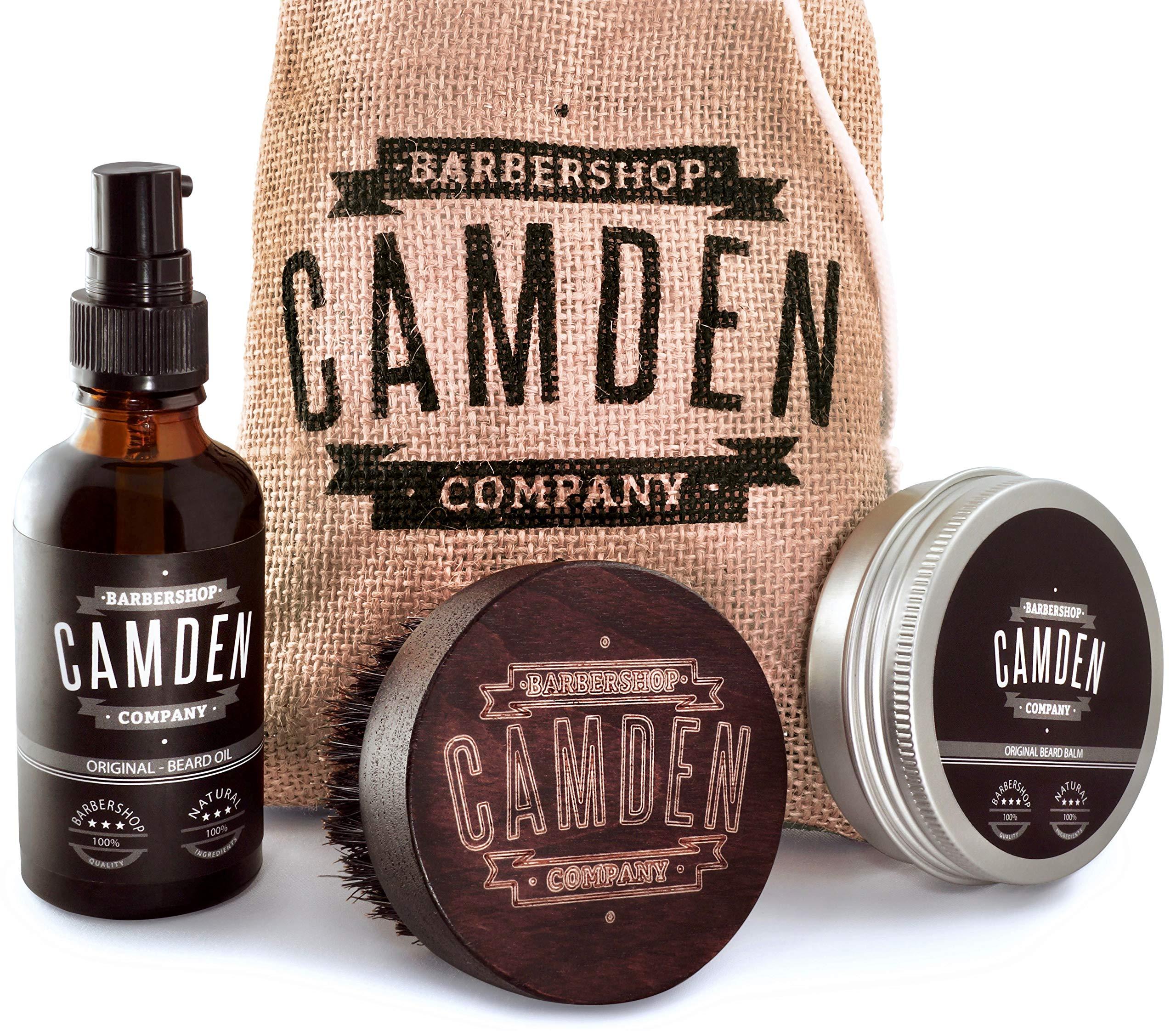 Set deluxe para el cuidado de la barba ○ Incluye aceite, bálsamo y cepillo para barba ○ Set de regalo de Camden Barbershop Company ○