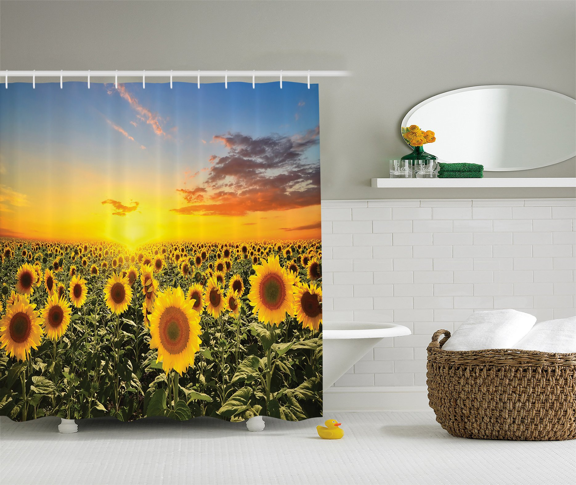 Ambesonne Country Shower Curtain Farm Garden Decorations by, Sunset over Colorful Sunflower Plants Field at Cloudy Evening, Fabric Bathroom Shower Curtain Set with Hooks, Blue Brown Yellow Green