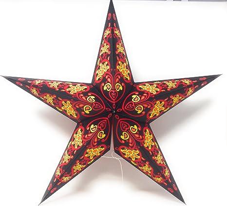 Stella Di Natale A 5 Punte.Stella Di Natale Carta Stella Aga Carta Stella 5 Punte Schwarz Rot Mix Amazon It Illuminazione