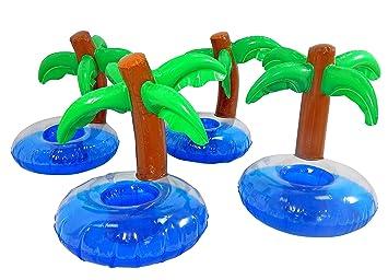 Tinas Collection Getränkehalter Palme 4tlg. Bierdosenhalter Im  Palmendesign, Aufblasbare Insel Als Dosenhalter, 4