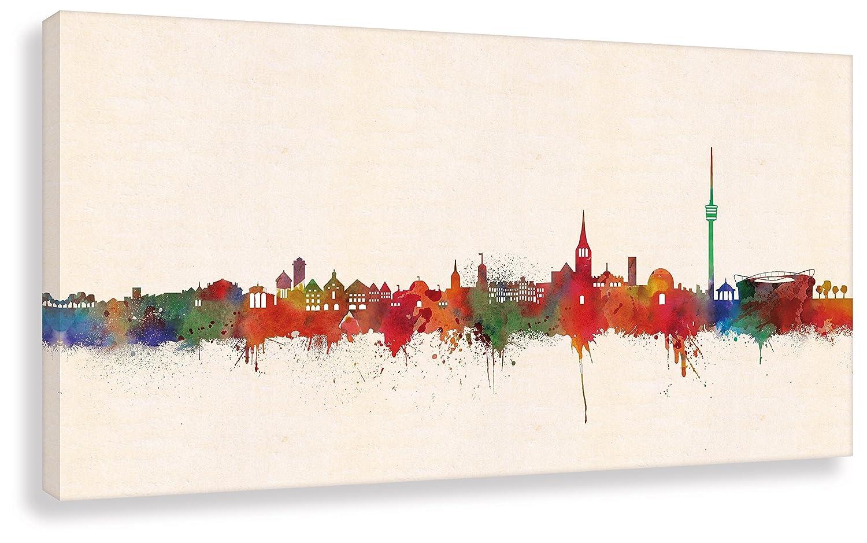 Kunstbruder Leinwandbild Druck auf Leinwand Wandbild Stuttgart Skyline Paul London  Bild fertig auf Keilrahmen   Kunstdrucke Wandbilder Bilder zur Dekoration (70x140cm)