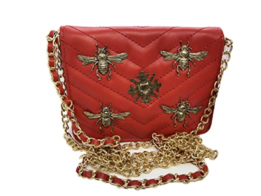 96f7f2ecda5a Amazon.com: Inzi Inspired Small Insect Bug Bees belt bag Red: Clothing