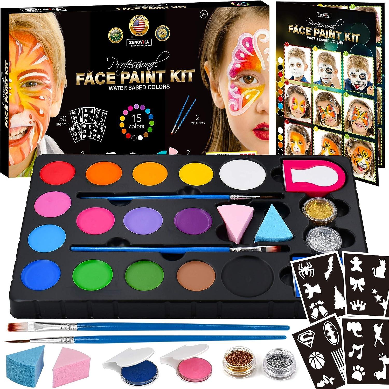Face Paint Kit for Kids - 30 Stencils, 15 Large Water Based Paints, 2 Glitters - Great Halloween Makeup Kit, Professional Face Paint Palette, Face Paints Safe for Sensitive Skin, Face Painting Book Zenovika