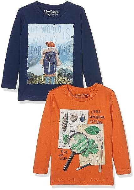 Mayoral 4031 Set 2 Camisetas m/l Lisas, Manga Larga para Niños, Prusia