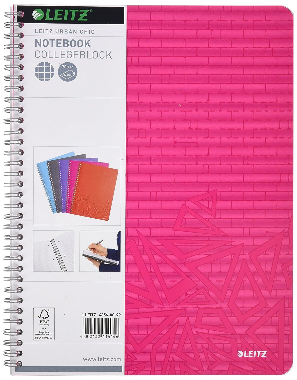 70 fogli a quadri Quaderno a spirale Urban Chic colori assortiti PP formato A4 Esselte Leitz