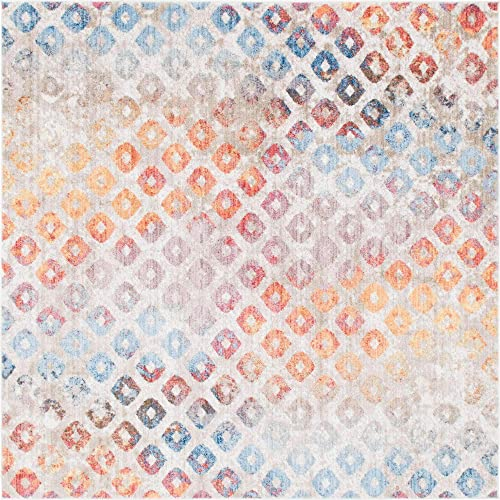 Unique Loom Rainbow Collection Geometric Abstract Modern Watercolor Multi Square Rug 8 0 x 8 0