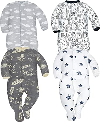 SIBINULO Baby Boys Baby Girls Sleepsuit with ABS Mix Pack of 3 Sizes 9-24 Months