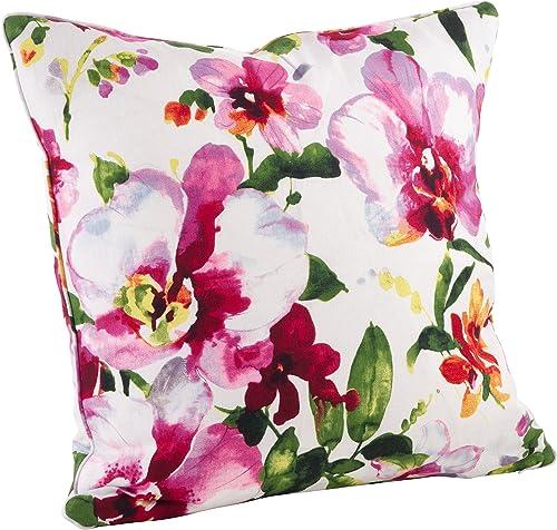 SARO LIFESTYLE Watercolor Floral Print Down Filled Throw Pillow, 20 , Multi