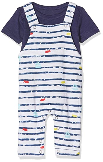 5bc30ce761c412 Noppies Baby-Jungen Latzhose B Dungaree+Romper Rifle AOP Mehrfarbig (Patriot  Blue P017