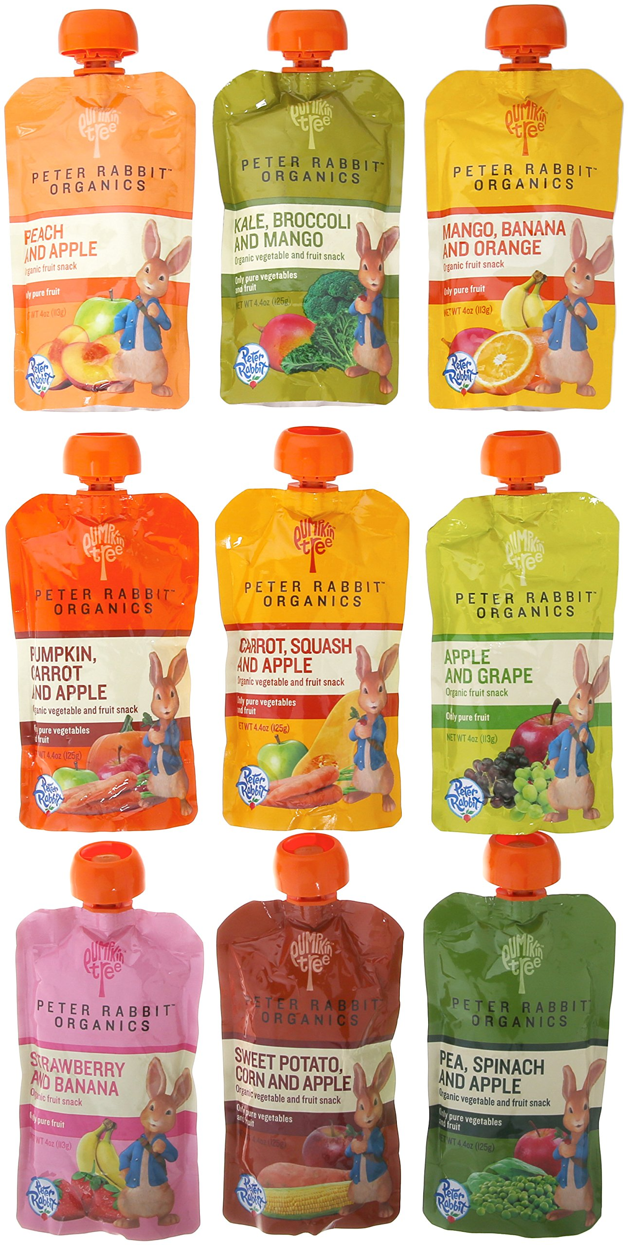 Peter Rabbit Organics 100% Pure Baby Food 10 Flavor Variety,   (Pack of 10)