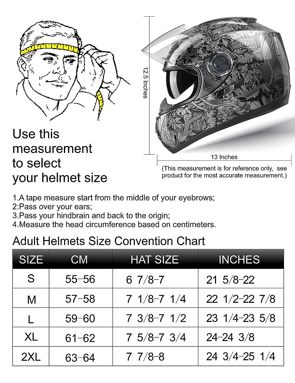 Glossy Black//X-Large GLX Dual Visor Full Face Motorcycle Street Bike Helmet