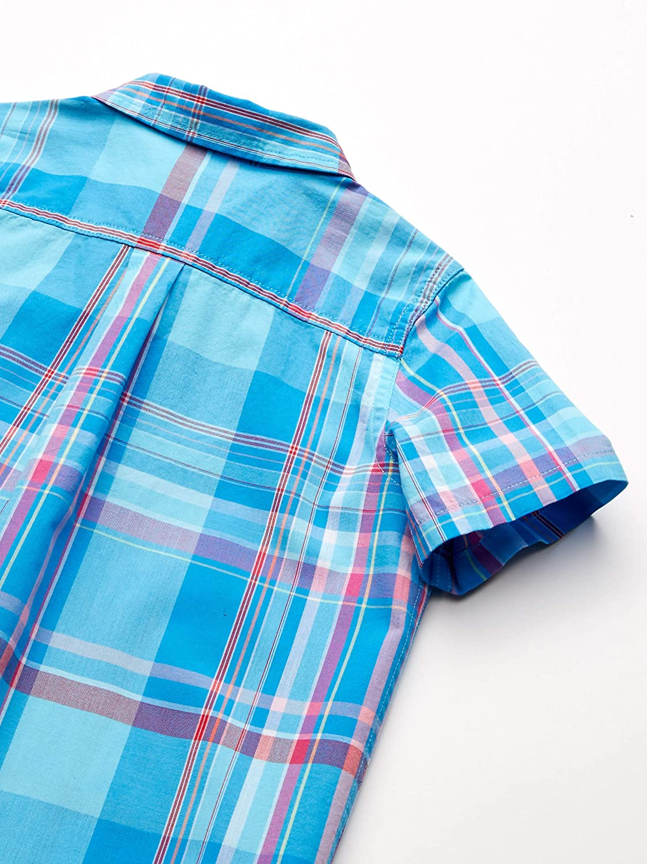M Essentials Big Boys Short-Sleeve Button-Down Shirt 8 Madras Blue
