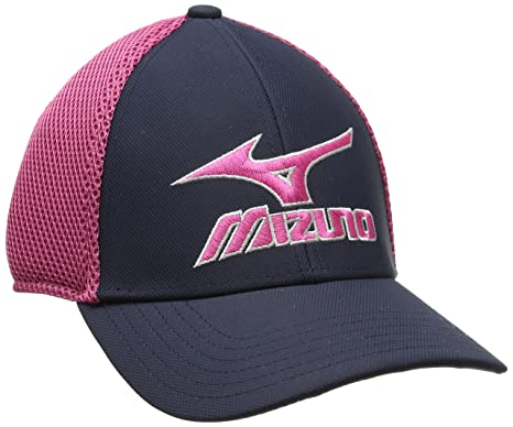 Mizuno 2017 Phantom Mens Performance Hat Stretch-Fit Golf Cap Navy Magenta 1054a59f8cd4