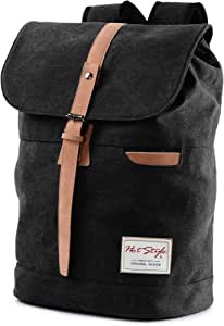902s Minimalist Canvas College Backpack Travel Rucksack | Fits 15.6-inch Laptop | Black