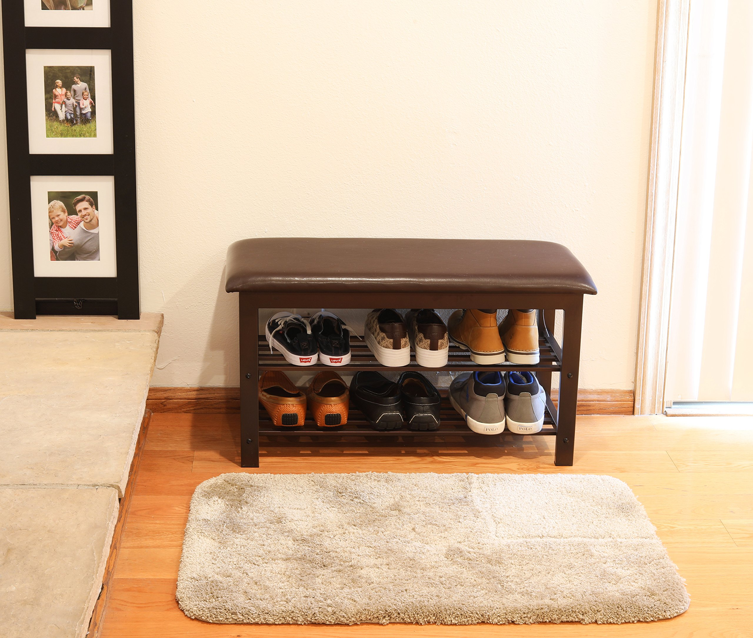 Simple Houseware Faux Leather Top Shoe Bench for Entryway Shoes Storage Organizer Rack by Simple Houseware (Image #4)