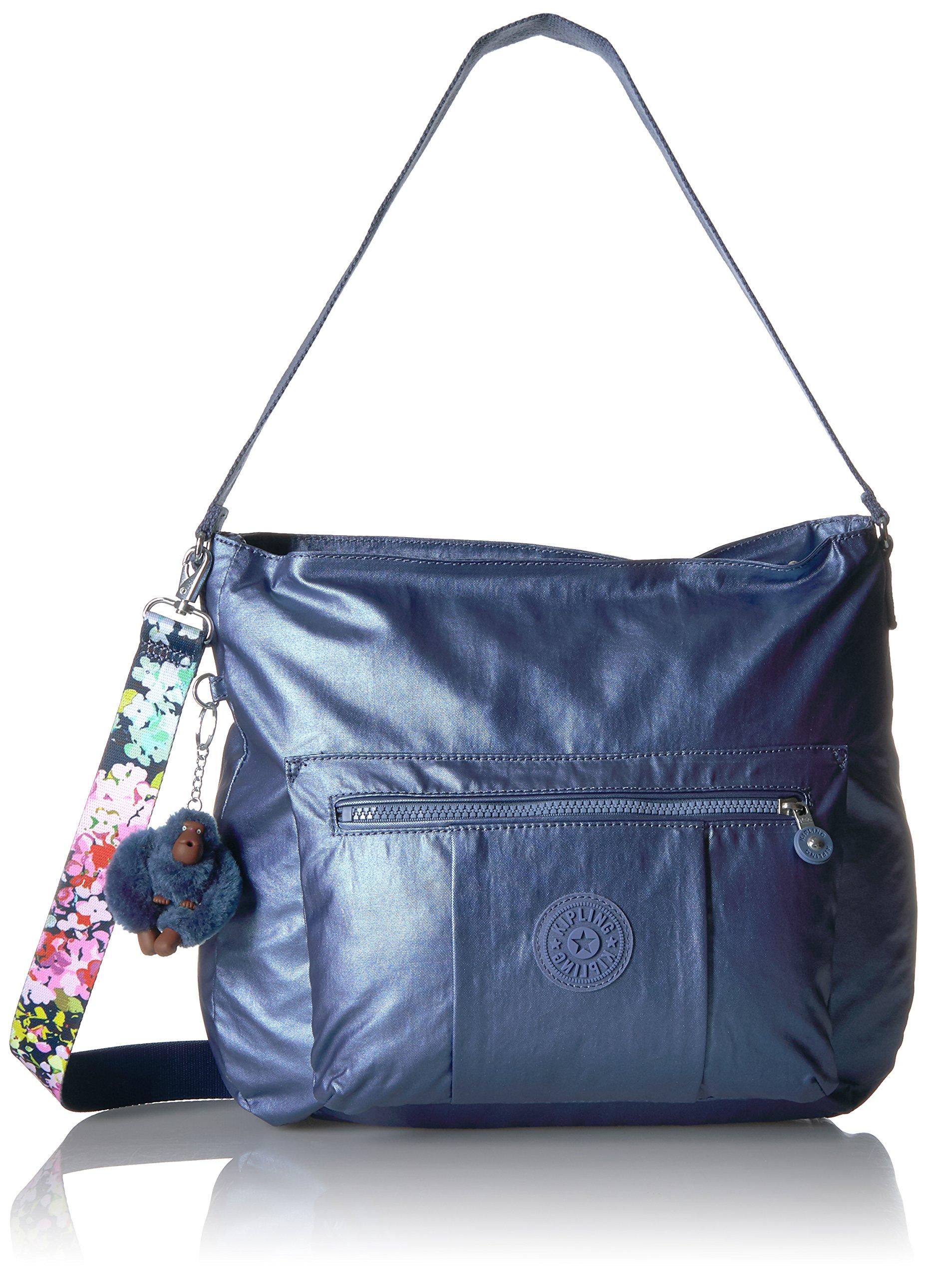 Kipling Carley Metallic Hobo Crossbody Bag with a Floral Printed Strap, Mtlcsubdvb