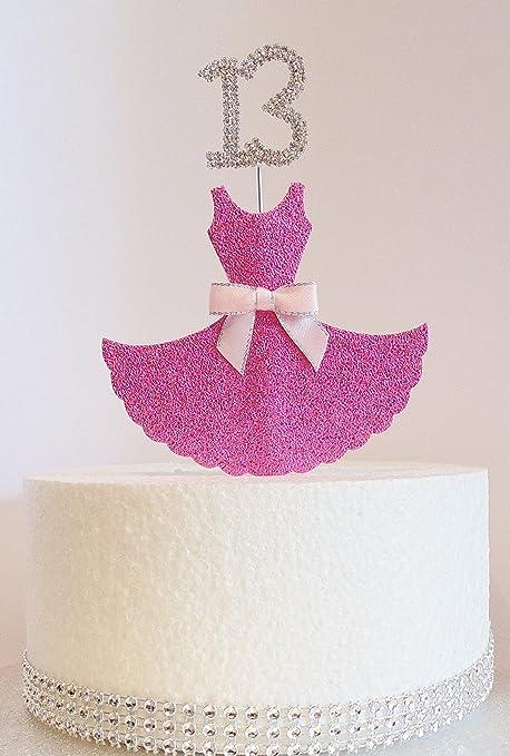 13th Birthday Cake Decoration Pink Dress With Diamante Crystal