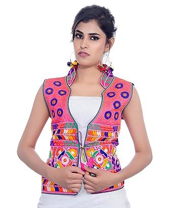 881e4ecdea Banjara India Women's Dupion Silk Embroidered Kutchi Waist Length Jacket/Koti  (MJK-CHK06_Pink_Free Size): Amazon.in: Clothing & Accessories