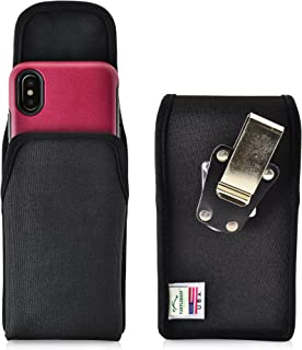 product image for Turtleback Belt Clip Case Made for iPhone 11 Pro, XS & X with OB Commuter Symmetry case Black Vertical Holster Nylon Pouch with Heavy Duty Rotating Belt Clip Made in USA