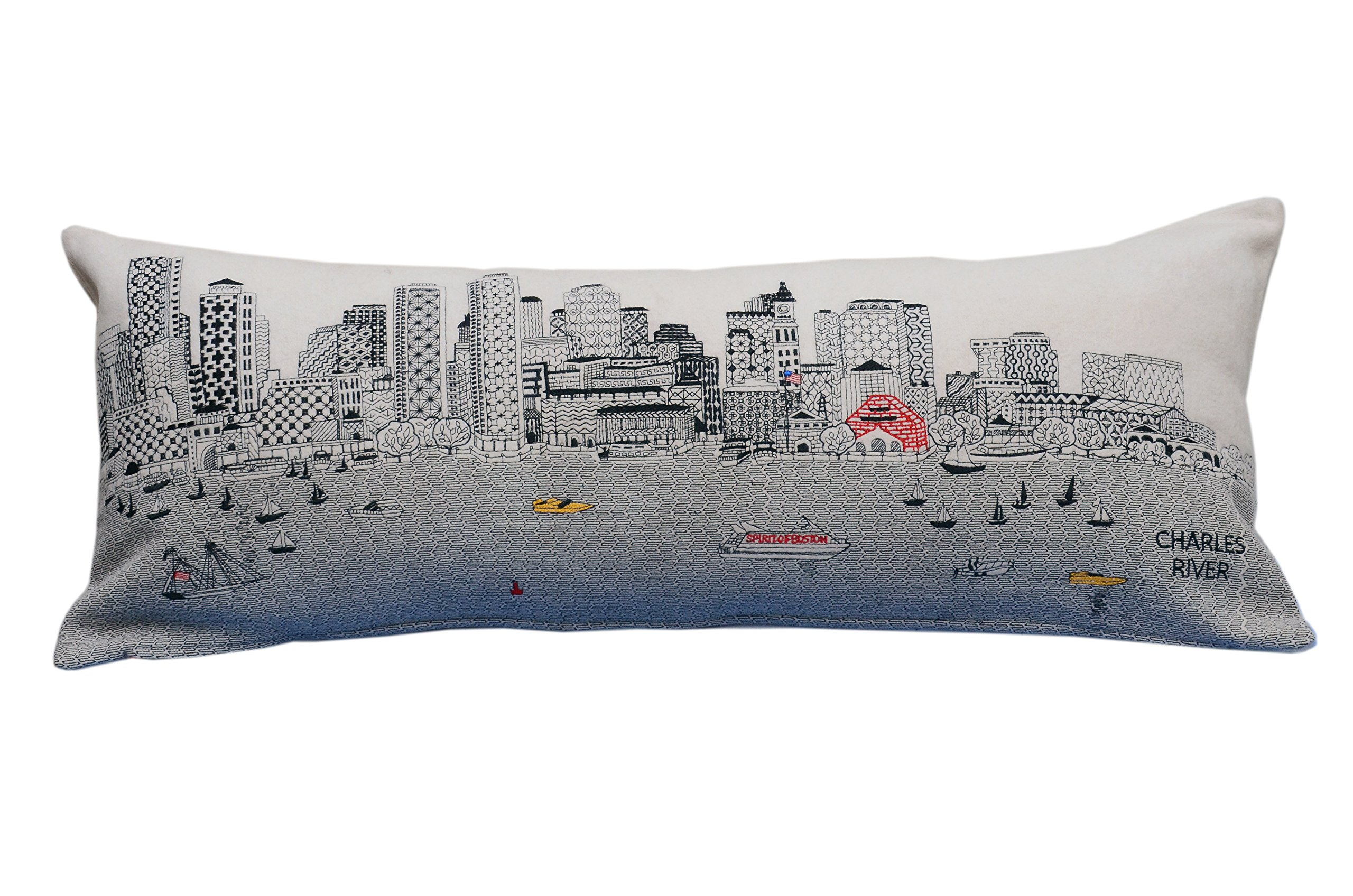 Beyond Cushions Polyester Throw Pillows Beyond Cushions Boston Daytime Skyline Queen Size Embroidered Accent Pillow 35 X 14 X 5 Inches Off-White Model # BOS-DAY-QUN