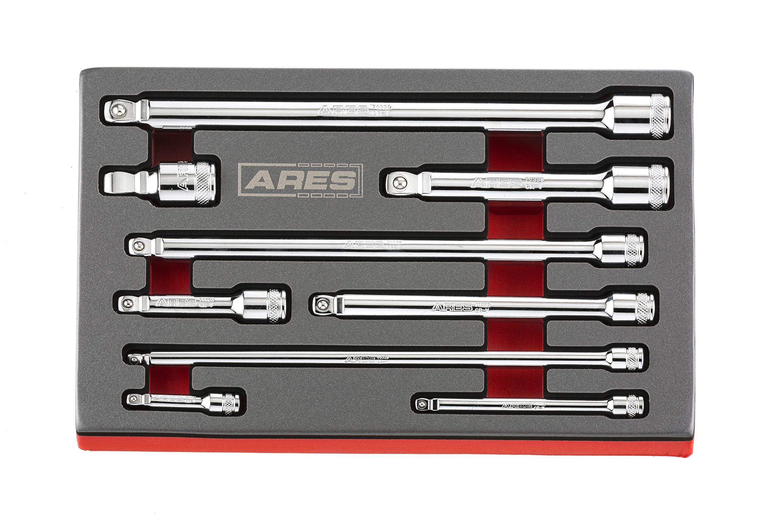 ARES 70330 - 9-Piece Wobble Extension Set - Premium Chrome Vanadium Steel Construction - 1/4-inch, 3/8-inch and 1/2-inch Drive Sizes Included - Storage Tray Included