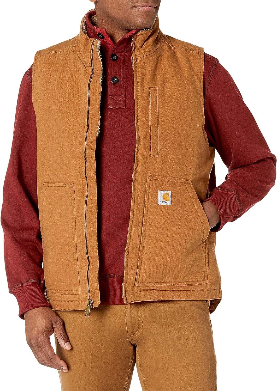 Carhartt Mens Sherpa Lined Mock-Neck Vest Work Utility Outerwear