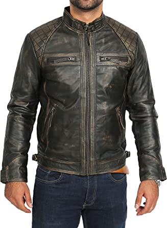 Homme Fashion en cuir véritable peau d/'agneau cuir style motard Veste Moto